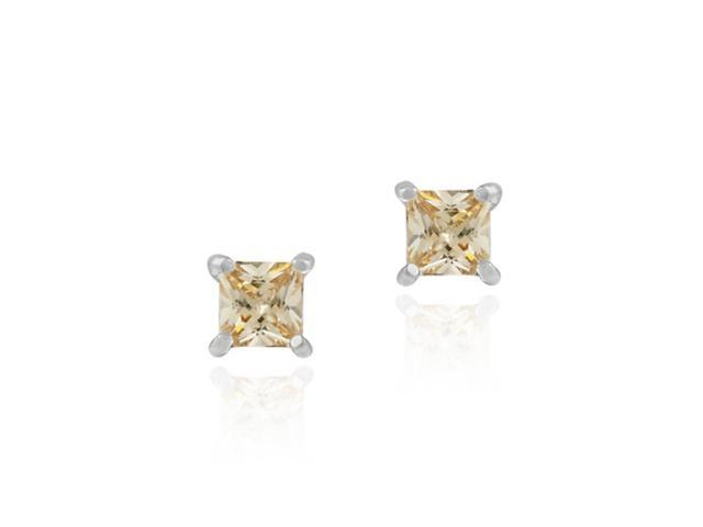 Sterling Silver Champagne cubic zirconia Square Stud Earrings