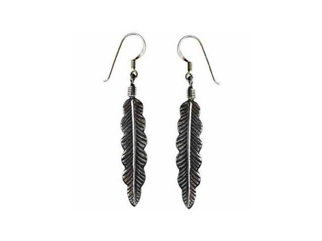 Sterling Silver Antique Feather Earrings