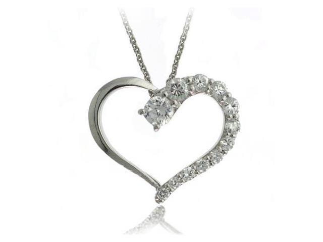 Sterling Silver Cubic Zirconia Heart Journey Pendant