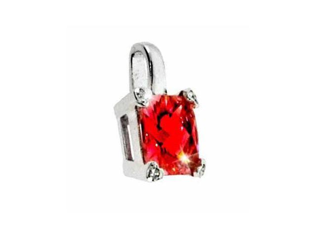 Sterling Silver Red cubic zirconia and Simulated Diamond CZ Square Heart Pendant
