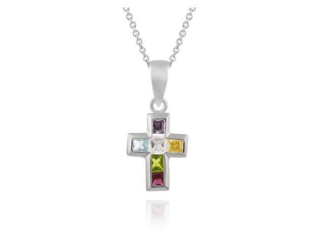 Silver Multi Color cz Stone Cross Pendant