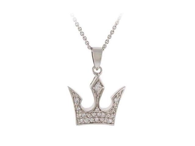 Sterling Silver CZ Crown Novelty Pendant