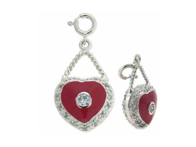 Sterling Silver Simulated Diamond Cz and Red Enamel Heart Pendant and Charm