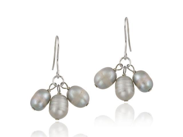 Sterling Silver Freshwater Cultured Gray Pearl Cluster Dangle Earrings