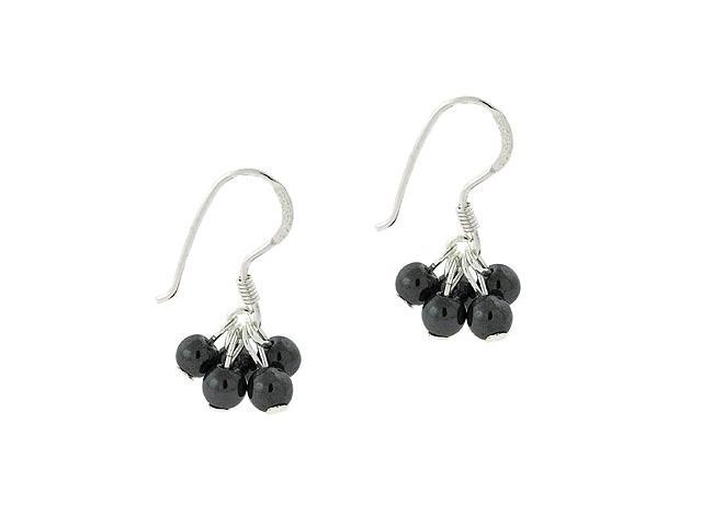Sterling Silver .925 Genuine Hematite Stone Bead Cluster Dangle Small Kid Earrin