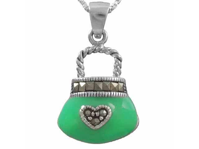 Sterling Silver Marcasite Green Purse Pendant