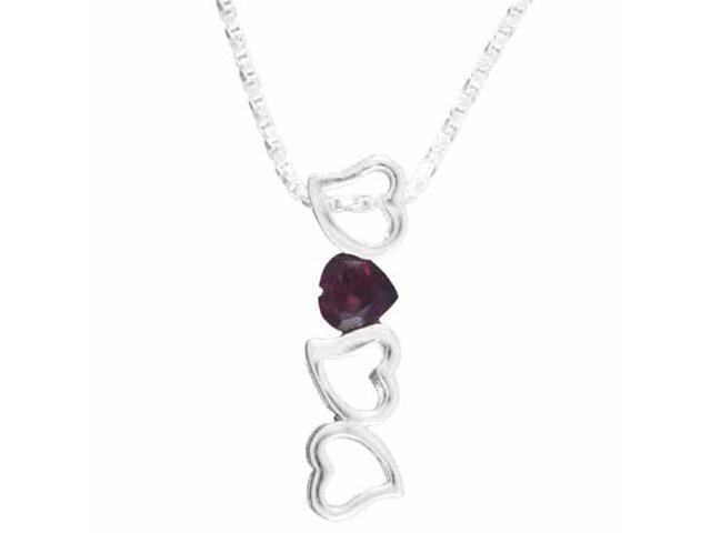 Sterling Silver Genuine Garnet Heart Pendant
