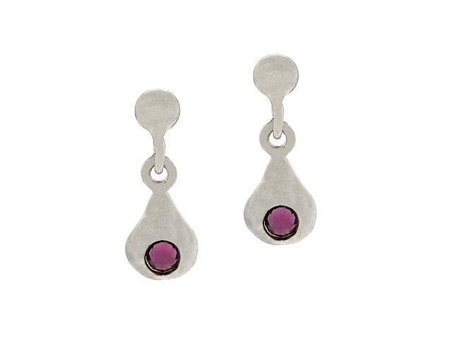 Sterling Silver Bead Purple Rhinestone TearDrop Dangle Mini Kid Junior Small Ear