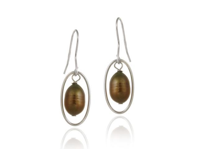 Sterling Silver Freshwater Cultured Brown Pearl Dangle Earrings