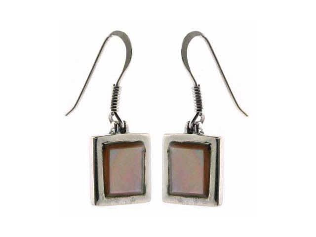Sterling Silver Genuine Pink Shell Dangling Square Earrings