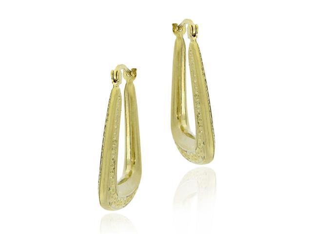 18k Gold Over Sterling Silver Fancy Hoop Earrings