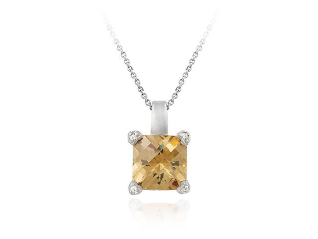 Sterling Silver Champagne and Simulated Diamond CZ Heart Square Pendant