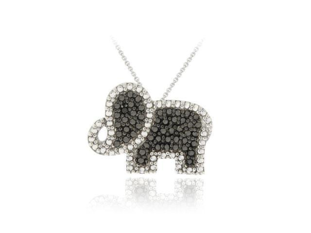 Sterling Silver Black Diamond Accent Elephant Pendant