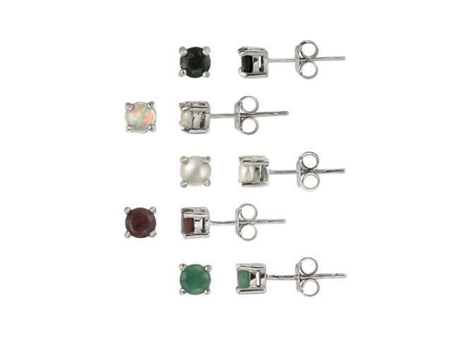Sterling Silver 4mm Round Genuine Ruby, Sapphire, Emerald, Opal and Pearl Stud E