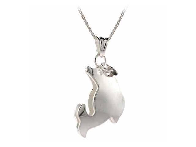 Sterling Silver Three Dimensional Leaping Dolphin Pendant