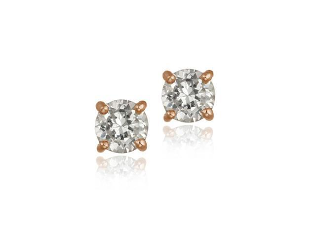 18K Rose Gold Over Sterling Silver CZ 6mm Round Stud Earrings
