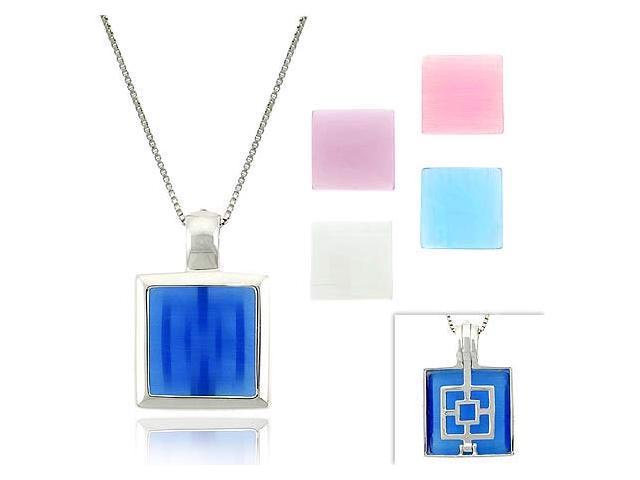 Pink, Light & Dark Blue, White, & Lavender 5 Cats Eye Stone Sterling Silver .925