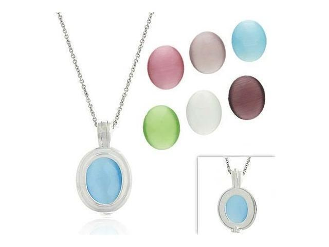 Sterling Silver .925 Glass Cats Eye stone 7 stone interchangeable Oval Pendant S