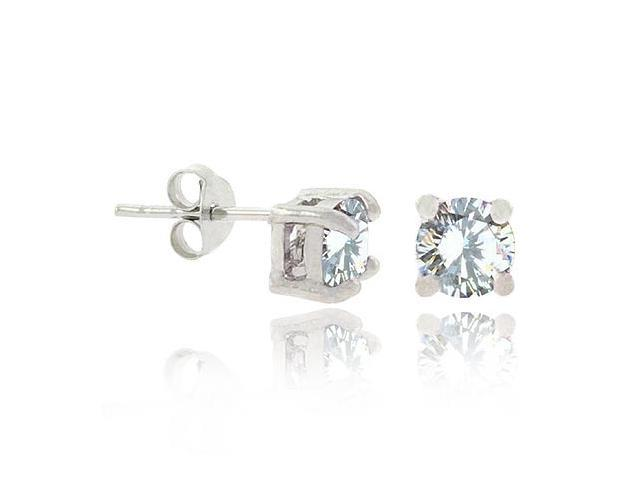 Sterling Silver Clear CZ  5mm  Round Stud Earrings