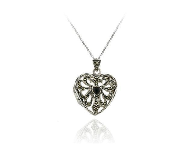 Sterling Silver Marcasite and Onyx Filigree Heart Locket Pendant