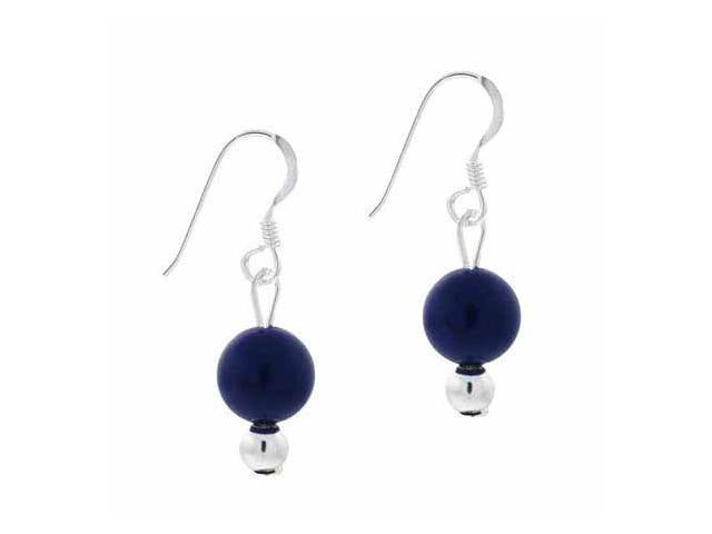 Sterling Silver 6mm  Genuine Lapis Stone Bead Beaded Dangle Hook Earrings
