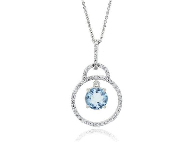 Sterling Silver CZ & Blue Topaz Drop Circle Pendant