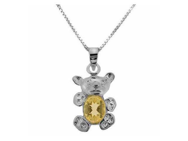 Sterling Silver Genuine Citrine Stone Teddy Bear Pendant