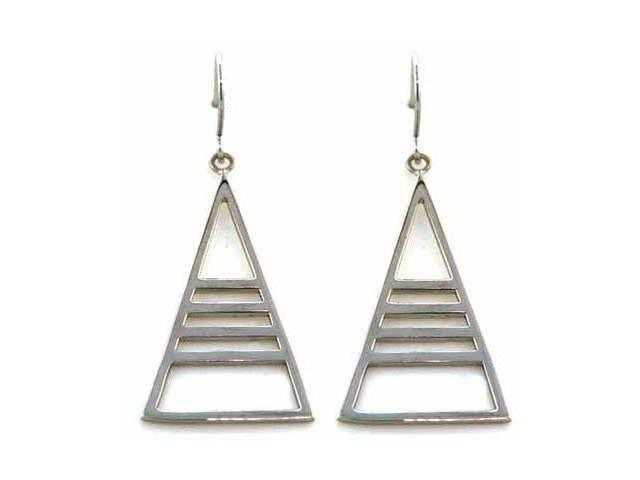80s Inspired Sterling Silver Stripe Triange Pyramid Earrings
