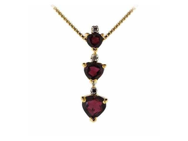 18K Gold Over Silver Past Present and Future Genuine Garnet & Diamond Accent Hea