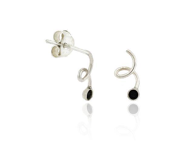Sterling Silver .925 Black Rhinestone Small Swirl Mini Kid Stud Earrings