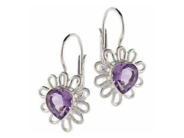 Sterling Silver Genuine Amethyst Stone Flower Heart LeverBack Lever Back Earring