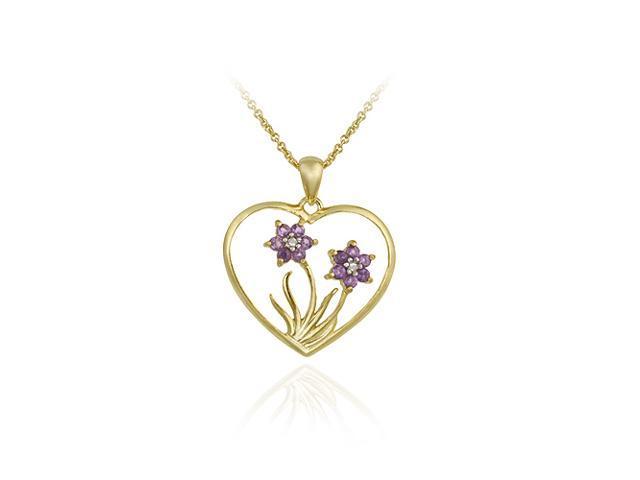 18K Gold over Sterling Silver Amethyst & Diamond Flower in Heart Pendant