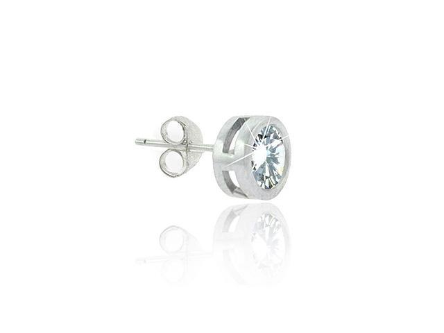 Sterling Silver Simulated Diamond cz Bezel 8mm Stud Mens Earring