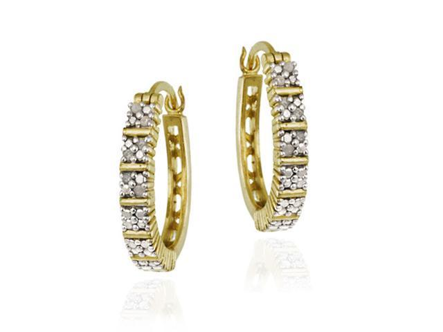 18K Gold over Sterling Silver 1/8ct. TDW Pave Set Oval Hoop Earrings