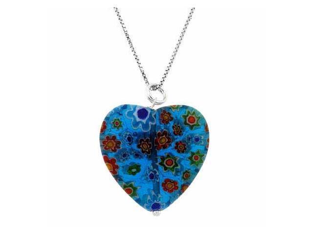 Summer Murano Glass Sterling Silver Bead Blue Millefiori Flower Heart Pendant