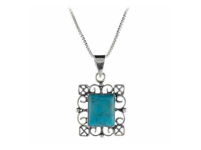 Reconstituted Blue Turquoise Stone Sterling Silver Filigree Rectangle Pendant