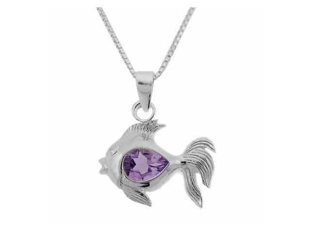 Sterling Silver Genuine Amethyst Stone Fish Pendant