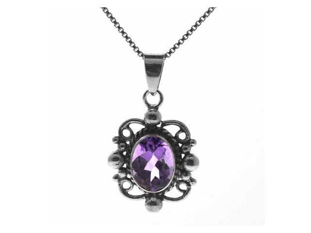 Sterling Silver Genuine Amethyst Stone Filigree Oval Pendant