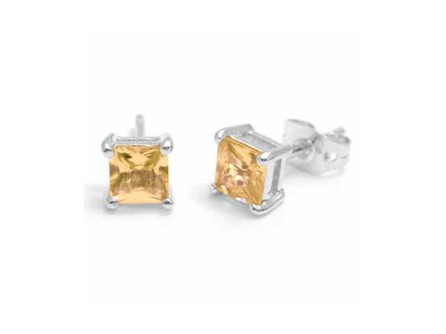 Sterling Silver Square Champagne Cubic Zirconia Stud Earrings