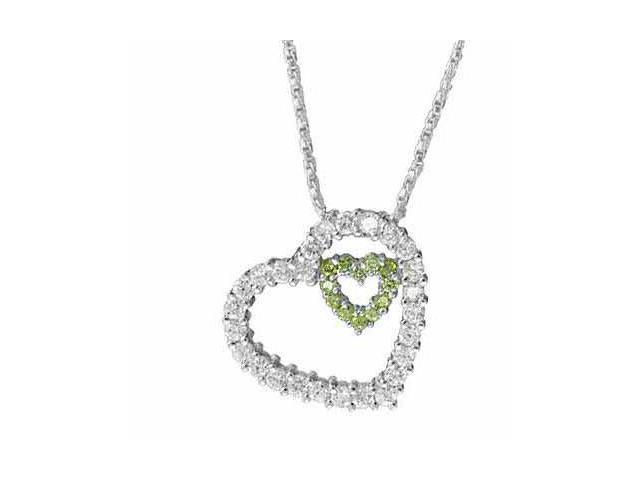 Sterling Silver Simulated Diamond CZ Floating Heart with a smaller Olive Cubic Z