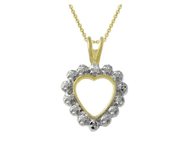 18k Gold over Silver Two-Toned Diamond Accent Open Heart Pendant