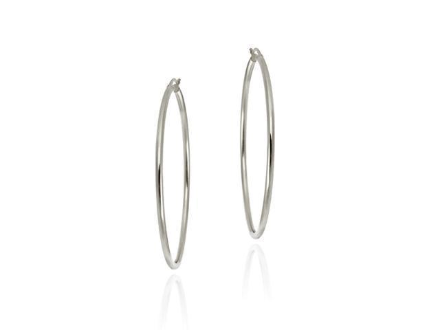 Sterling Silver 50mm Polished Hoop Earrings