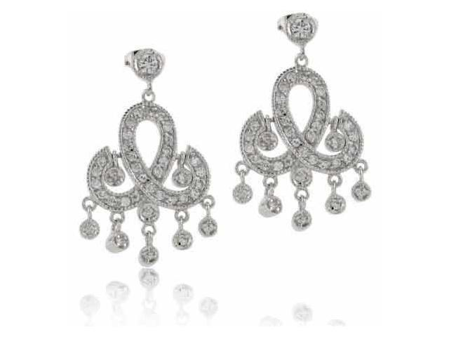Sterling Silver Simulated Diamond CZ Chandelier Earrings