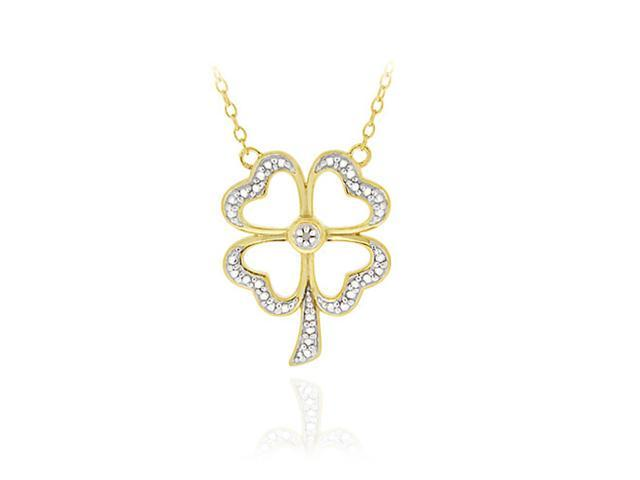 18K Gold over Sterling Silver Diamond Accent Four Leaf Clover Pendant Necklace