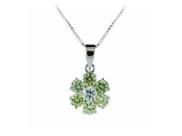 Sterling Silver Light Green cz Flower Pendant