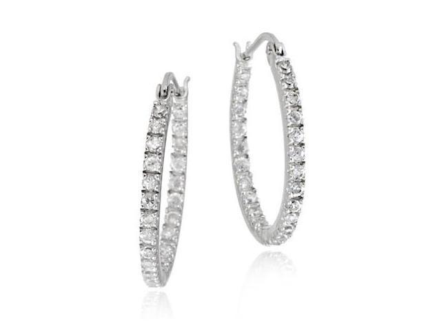 Sterling Silver Inside Out CZ 22mm Oval Hoop Earrings