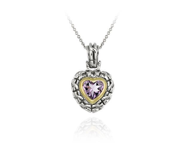 Sterling Silver Two Tone Designer Inspired Amethyst Heart Pendant w/ Braided Bor