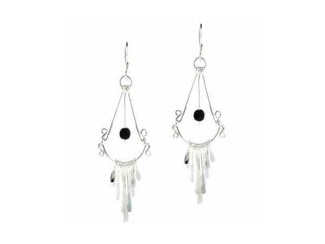 Sterling Silver Chandelier Genuine Onyx Bead Dangling Earrings