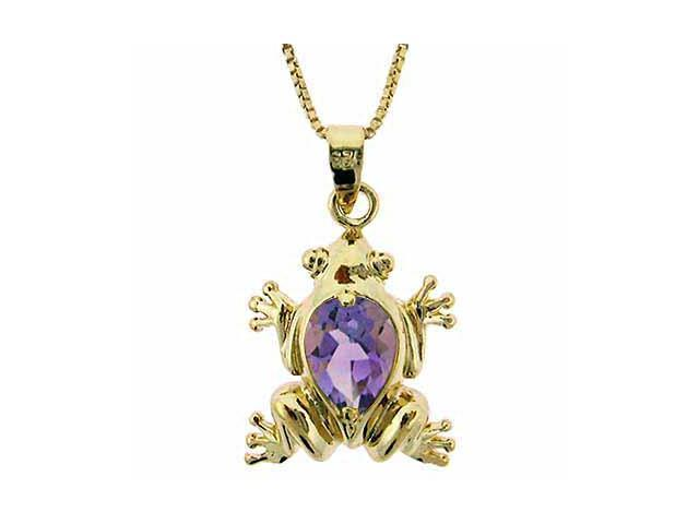 Vermeil (24k Gold over Sterling Silver) Genuine Amethyst Frog Pendant