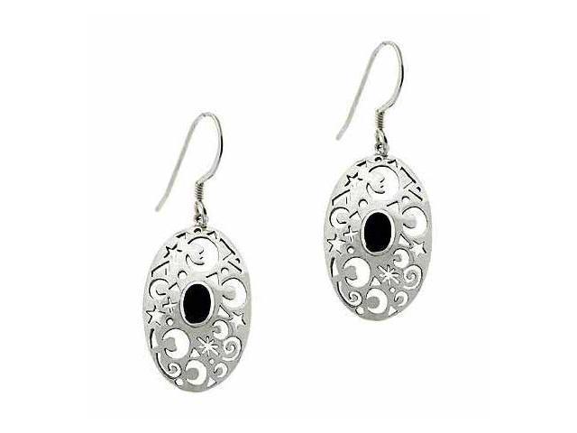 Sterling Silver .925 Genuine Onyx Stone Moon & Star Oval Dangle Earrings